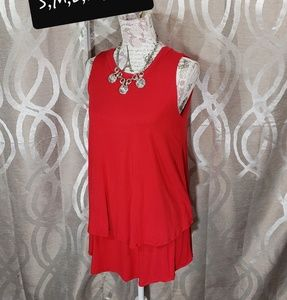Red Sleeveless Tiered Tunic By Agnes & Dora
